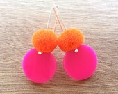 Spot Pom Drops - Hot Pink and Orange - Laser Cut Pompom Earrings