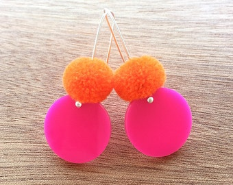 Spot Pom Drops - Hot Pink and Orange - Laser Cut Pompom Earrings