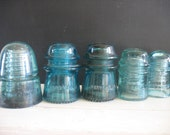 Vintage Glass Insulators - Blue Glass - 5