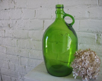 Vintage Green Glass Wine Bottle