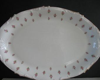 Vintage Limoges Platter Pink Roses J. POUYANT - France