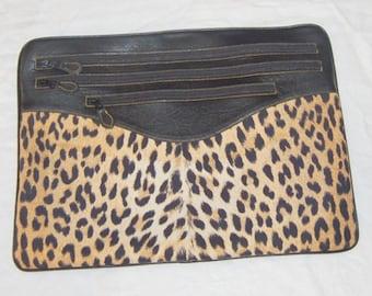 80s Designer Leather Faux Leopard Handbag Awesome Envelope Clutch Original Retro Boho Bag Casleigh New York