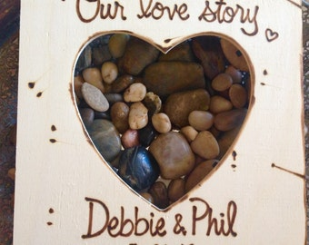 """Valentine Engagement Wedding Wood Picture Frame """"Our Love Story"""" Personalized Woodland Chic Gift"""