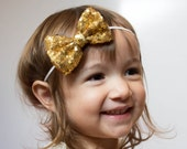 Baby Headbands, Gold sequin Bow Headband, Head wraps, Girls Headband,Gold baby headband,Big Bow Headband, Sequin Bow Headband,