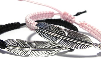 His and Her Bracelet, Feather Bracelets, Couples Jewelry, Feather Jewelry, Friendship Bracelet, Girlfriend Gift, Boyfriend Gift, Friend Gift