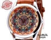 Floral Pattern Watch, Leather Watch, Women Watches, Wrist Watch, Ladies Watches, Girlfriend Gifts, Wristwatch, Gift Ideas - Free Shipping