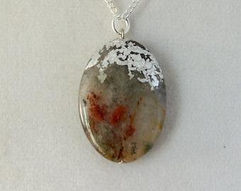 Silver Leaf Stone Pendant - Multicolored Natural Quartz