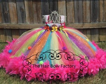 The Hair Bow Factory Over the Top Lollipop Candy Glitter Feather Tutu Dress Size 12-24 Months to Size 12