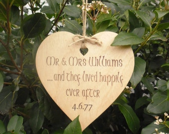 Rustic Wedding Anniversary Engagement Sign Gift Personalised Painted & Waxed Wooden Heart