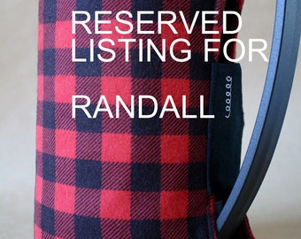 RESERVED LISTING for RANDALL- French Press Coffee Cozy 51 oz.size- Red & Black Plaid Flannel