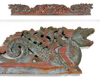 Indonesian Hand Carved Temple Panel • ORIGINAL • One Of A Kind • Late 19th Early 20th Century • Carved & Painted On BOTH Sides • Amazing!