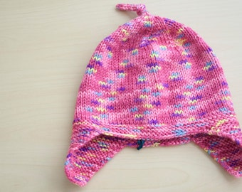 Pink variegated ear flap hat