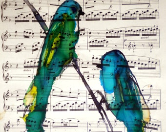 Allegro vivace bird watercolour ink painting on antique music paper ORIGINAL ART