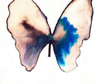 azure blue, white gold and black butterfly original watercolour painting