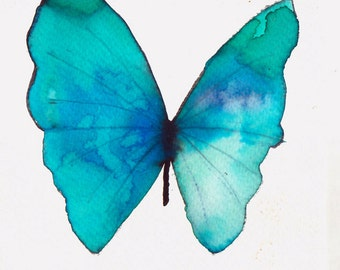 pale turquoise and azure blue butterfly original watercolour painting