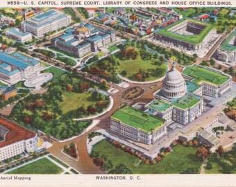 Washington D.C., U.S. Capitol, Supreme Court, Library of Congress - Linen Postcard - Unused (E)