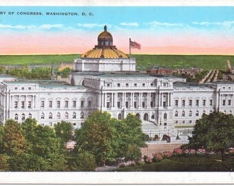 Washington D.C., Library of Congress - Vintage Postcard - Unused (U)