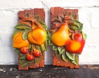 Vintage Chalkware Fruit Wall Plaque Set 2 Kitchen Chalk Ware Decor Pears Peach Cherries Faux Bois