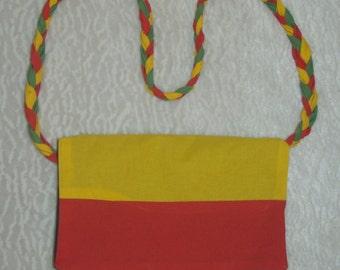 Small Rasta purse with braided crossbody strap