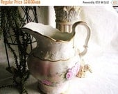 On Sale Antique Victorian Water Pitcher , KTK porcelain , semi Vitreous , Knowles, Taylor & Knowles