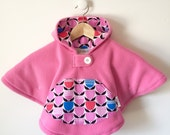 Mini Fleece Cape Poncho (Pink Tulip)) || Size S 0-18mo. Baby Toddler || Car Seat Coat