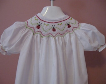 Hand Smocked Ladybug Bishop Dress and Bloomers-Special Order