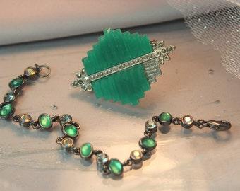 Vintage Swarovski Crystal Chain Link bracelet, Emerald Crystal Rhinestone Bracelet, Gunmetal Bracelet