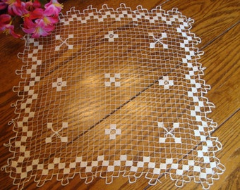 French Lace Doily Square Hand Knotted Antique Doily Table Topper