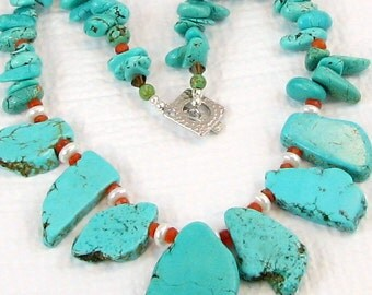 Slab Turquoise, Coral and Pearl Necklace