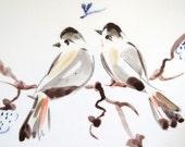 Ceramics tile, wall tile, wall art, birds, two birds, ceramics birds, wall hanging, hand painted tiles, ceramics art