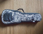 Concert ukulele case - Paisley -  Black and white Ukelele Case with hidden pocket (Made to order)