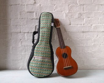 soprano ukulele case - Woven Cotton Ukelele Case with removable strap. (Ready to ship)
