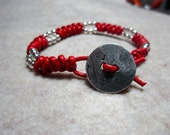 Red leather Spanish Knot bracelet