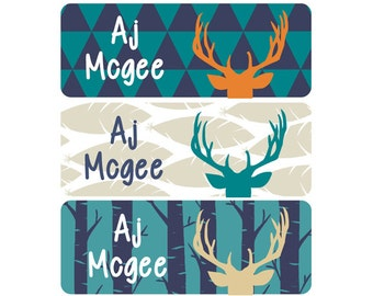 FAST SHIPPING! School Name Labels, Daycare Name Labels, Boy, Waterproof, Clothing Labels, Woodland, Deer Antlers, Navy Blue, Teal, Orange
