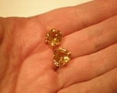 Delicious 10mm round Citrine gemstones set in 14K yellow gold post earrings