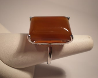 Large Salted Caramel Color Carnelian cushion cut cabochon 14k white gold vintage inspired ring treasure