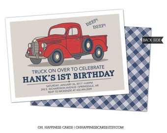Vintage Truck Birthday Invitation- Pickup, Ford, Transportation, Navy Red and Gray // Digital or Printed (FREE SHIPPING!)
