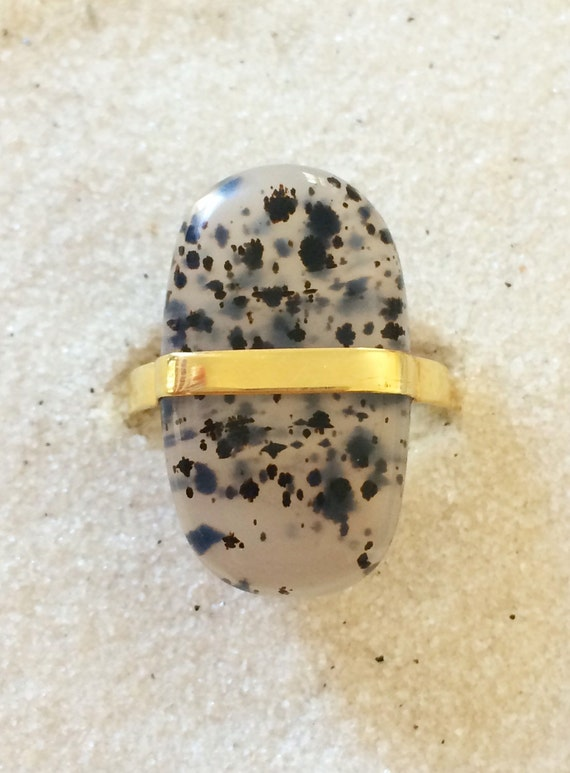 Montana Dendrite Agate and solid 18k gold modern ring