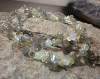 Labradorite Citrine green Chalcedony Necklace