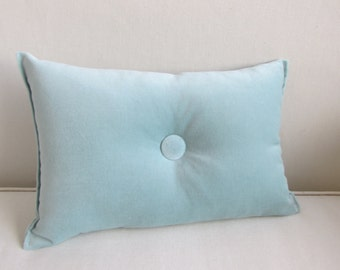 velvet TOSS throw pillow 8x16 powder blue with  button