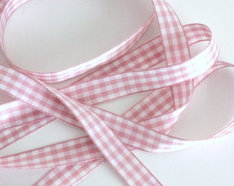 "5/8"" Gingham Ribbon -  Light Pink - 25 yd Spool"