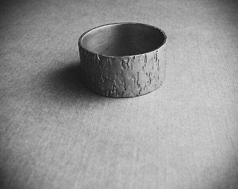 Bark Texture Silver Tone Ring