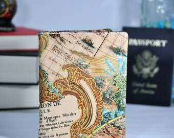 Passport Wallet - World Map Travel Organizer - Midori Passport Notebook Cover - Family Travel Wallet - Gift for Traveler