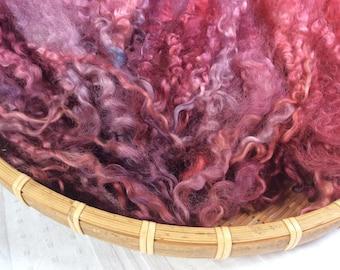 Hand Dyed British Teeswater Wool locks,63gms for Waldorf Dolls, Art Dolls, Blythe Dolls, Spinning and Felt making 'Berri Licious' colourway