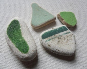 4 green & white sea pottery - Lovely English beach find pieces