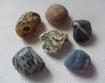 6 interesting Seaham beach pebbles - Lovely English beach find piece