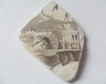 Rare lucky find sea beach pottery fragment - Lovely English village houses & church on river beach find