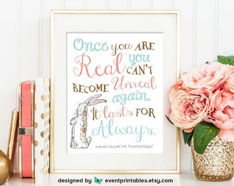 "Velveteen Rabbit Nursery Wall Art, Gender Neutral Art Print, ""Once you are Real"" Quote, 8x10 or 16x20 INSTANT DOWNLOAD by Event Printables"