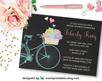 Bicycle Bridal Shower Invitation, Chalkboard Spring Bicycle Flower Basket Hydrangeas, Printable Digital File by Event Printables