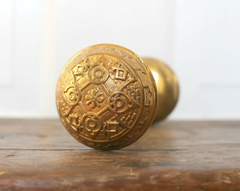 Antique Brass Door Knob Set - Arts and Crafts Style - Salvaged Interior Ornate Door Knob Set - Victorian Era - Eastlake Style - Cast Brass